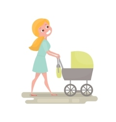 Mom pushing her baby in a stroller Young woman vector image vector image