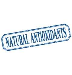 Natural antioxidants square blue grunge vintage vector