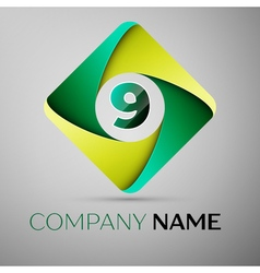 Nine number colorful logo in the rhombus template vector