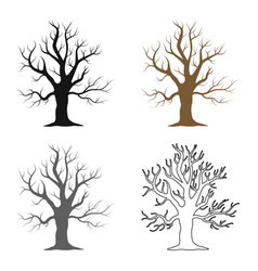 Old tree icon in cartoon style for web vector