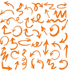 Orange Hand Drawn Arrows Set vector image vector image