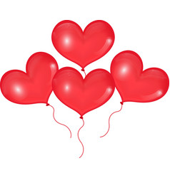 Realistic 3D red balloons in the shape of heart vector image