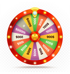 Realistic retro spinning wheel of fortune or luck vector