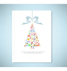 Report christmas tree icon for christmas card vector image vector image