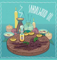 Sandalwood oil used for aromatherapy vector