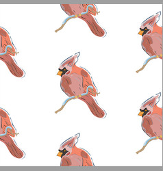 seamless pattern with red cardinal birds on white vector image