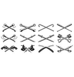 Set of different crossed design elements vector