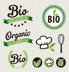 Set of organic stickers and ribbons vector image vector image