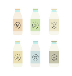 Set of plant based milk bottles vector