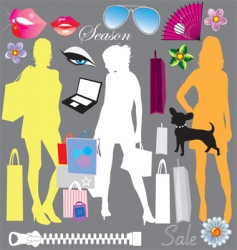 shopping elements vector image