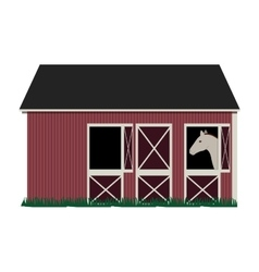 Silhouette colorful with barn and horse vector