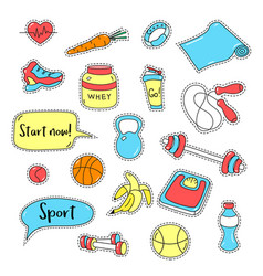 Sport stickers set hand drawn fitness patch vector