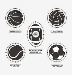 Sports balls logos emblem vector image