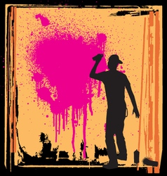 spray guy on wall vector image vector image
