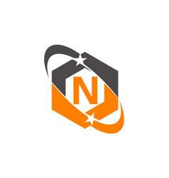 Star swoosh letter n vector
