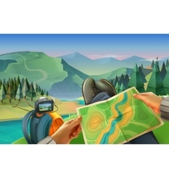 Traveler with a map vector image vector image