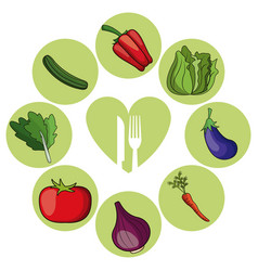 Vegetables healthy food ingredient vector