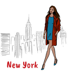 Woman walking in ny vector