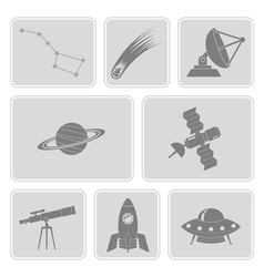 Set with astronomy and space icons vector