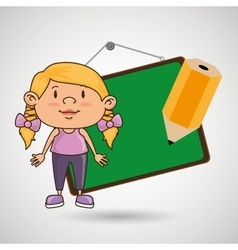 kid with chalkboard and pencil isolated icon vector image