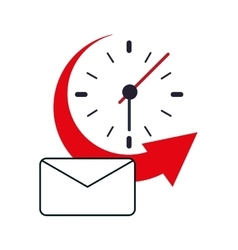 Clock with arrow and envelope icon vector