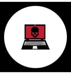 Simple black virus infected laptop with skull icon vector