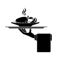 Silhouette monochrome dish with hot crab in tray vector