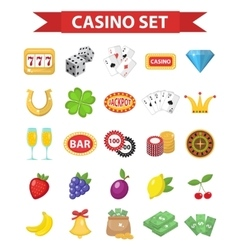 Casino icons flat style gambling set isolated on vector