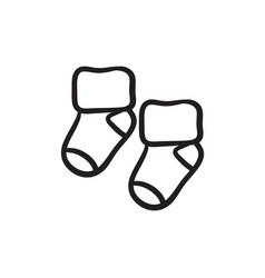 Baby socks sketch icon vector