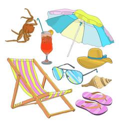 Summer beach vacation set vector