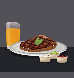Fillet steak fresh juice and sauce fast food vector
