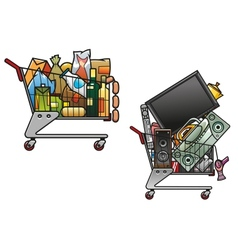 Shopping carts with goods vector