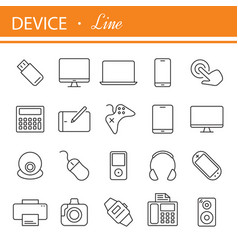 electronic devices thin line icons vector image