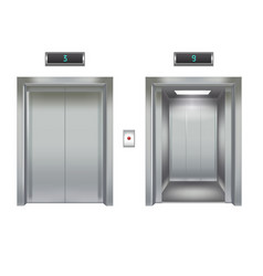 realistic elevator with closed and opened metal vector image