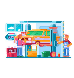 auto repair service auto mechanic near the car vector image