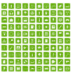 100 information icons set grunge green vector