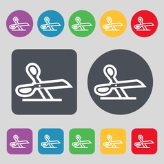 Scissors icon sign a set of 12 colored buttons vector