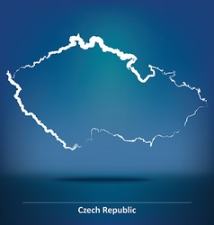 Doodle map of czech republic vector