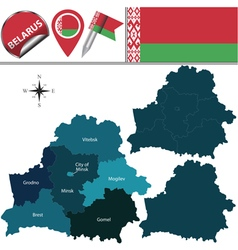 Belarus map with named divisions vector