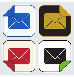 Four square sticky icons - mailing envelope vector