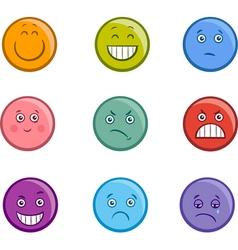 cartoon emoticons faces set vector image