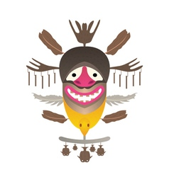 Tribal mask with feather and fish vector