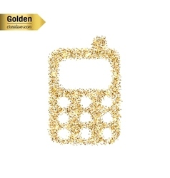 Gold glitter icon of mobile phone isolated vector