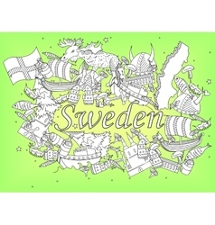 Sweden coloring book vector