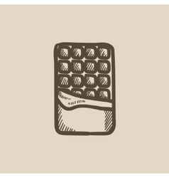 Opened bar of chocolate sketch icon vector