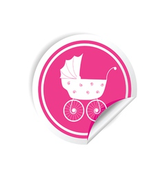 Baby carriage sticker vector