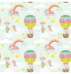 Baby giraffe background seamless pattern vector
