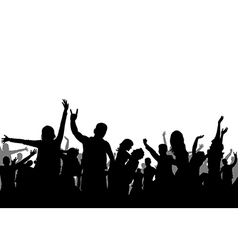 Black and white party crowd silhouette vector image