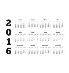 Calendar 2016 year on spanish language a4 sheet vector