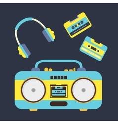Cartoon boombox cassettes and headphones vector